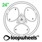 "24"" 3 COLOR Loopwheels with 1 CUSTOM COLOR logo - PAIR LOOP3C24CL"